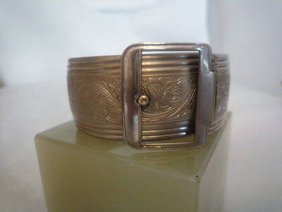 A Vintage Silver Coloured Buckle Bangle 7.5/8 inches Round
