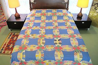 FULL Vintage Hand Sewn Feed Sack Cotton WEDDING RING Quilt TOP w/ Novelty Prints