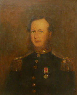 19th century Portrait of Naval Officer - large oil on canvas