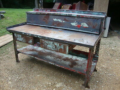 Vintage Industrial Heavy Workbench With Locking Doors & Rool Top Great Paint