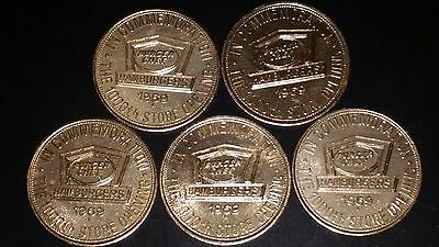 Lot of 5 Vintage Burger Chef 1000th Store Fun Money 1969 Coins Tokens 5 cent