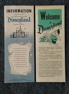 "Vintage Disneyland 1955 ""Welcome to Disneyland"" and ""Information"" Brochures"