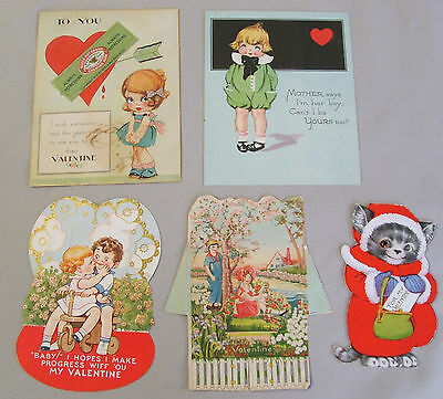 Vintage Lot of 5 Valentine Day Cards, 2 Postcards, 2 Stand Up Type, Cat w/1 Eye