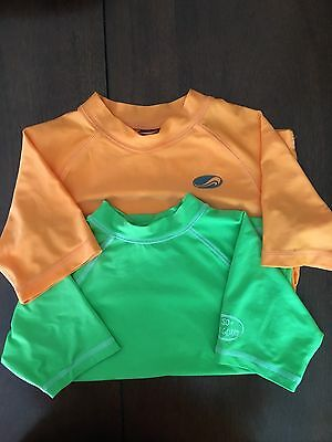 Boy's Swim Rash Guards Orange Lime Green Size 6 7 Shirts