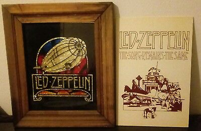 RARE hard Plastic Poster LED Zeppelin remains the same original framed glass