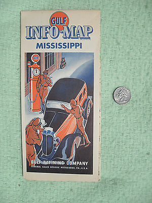 1935 Gulf Oil Refining Co Road Map Mississippi Advertising Vibrant Clean Minty