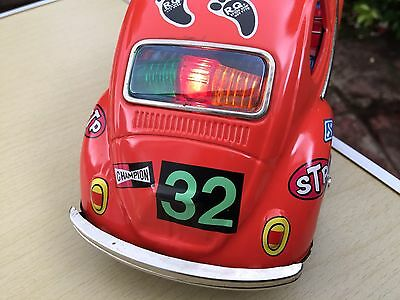 Vintage Tinplate Taiyo Japan Volkswagen Beetles Battery Operated Toy Car