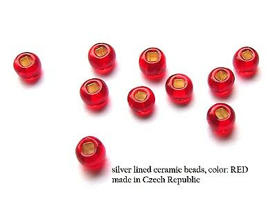 "50) 7/64"" RED Seed Beads (3.0mm) fly tying (for hook sizes 14, 12, 10)"