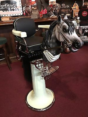 "1920 Emil Paidar Child's Barber Chair with Carved Horse Head  ""Watch Video"""