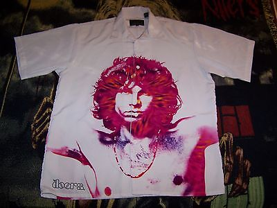 NEW Vintage 2003 THE DOORS Jim Morrison Dragonfly Button Dress Bowling Shirt L