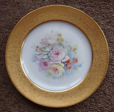 """Pickard Etched Gold Hand Painted Plate Signed """"challinor"""", Rosenthal, Roses, 11"""""""