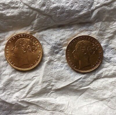 2xYoung Head Victorian Full Sovereigns