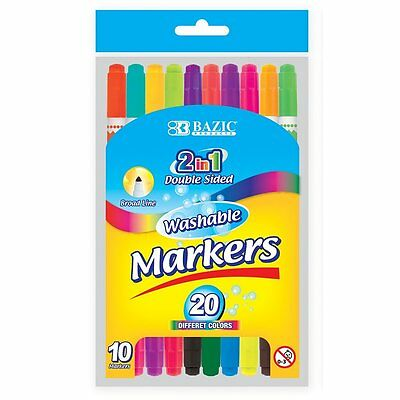 20pc Dual Tip Broad Line Washable Markers Set Coloring Drawing Writing #1234-2