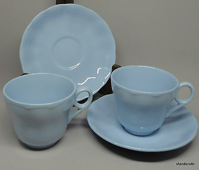 Grindley Petalware Cup Saucer Set (s) x 2 Lupin Blue Scalloped 6oz Vintage