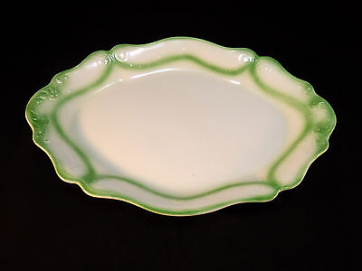 """Large Green & White Ironstone Platter by W. H. Grindley, England. ca. 1900  16"""""""