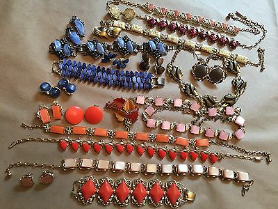 Vintage 20 + Coro Pegasus Thermoset Moonglow Confetti Coral Lucite Jewelry Lot