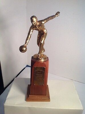 BOWLING Perfect 300 Game Trophy Vintage Antique Anheuser Busch 1948