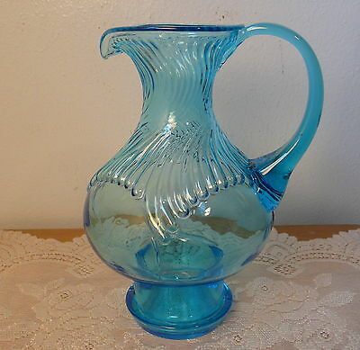 Vintage Horizon Blue Tiara Exclusives Glass Footed Hurricane Pitcher