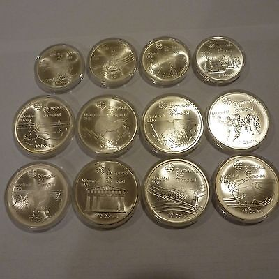 $100 Face Mix Of Canada 1976 $5 + $10 Olympic.925 Fine 14.40 Oz Pure Silver Bu