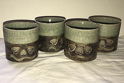 Vintage Somayaki Somaware Japan Pottery Set Of 4 Tea Cups Double Wall Hearts