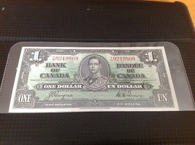 1937 $1 Bank of Canada Note, Coyne/Towers Signatures, T/N 9219869, UNC+++