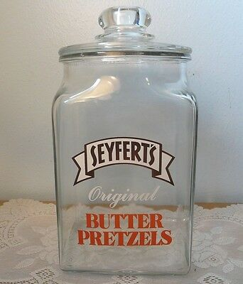 Large Seyfert's Butter Pretzels Advertising Store Counter-Top Display Jar Cookie