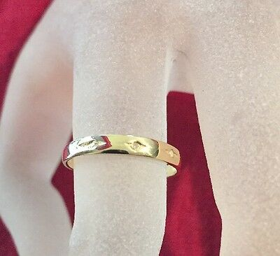 Classic 9CT SOLID YELLOW GOLD 3 DIAMONDS Wedding keeper band love ring size N