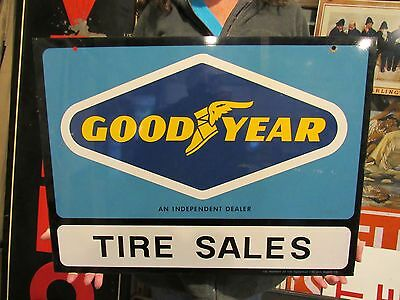 ORIGINAL c1970's GOODYEAR TIRES DOUBLE SIDED DEALERSHIP SIGN NOT PORCELAIN