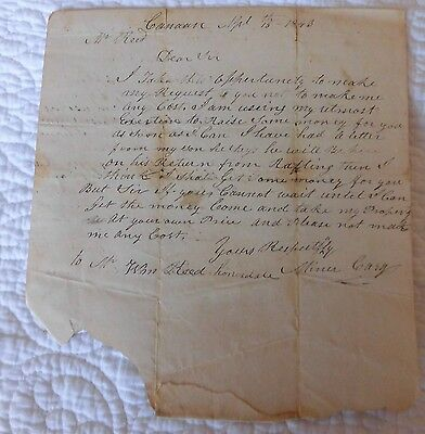 1843 Vintage old document  letter to Wm Reed from MINER CARY Honesdale PA