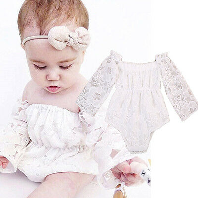 US Stock Newborn Toddler Baby Girl Clothes Lace Romper Bodysuit Outfits 0-24M