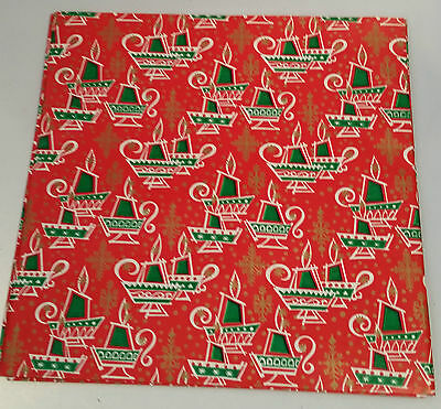 """Vintage Mcm Christmas Wrapping / Gift Paper - Wacky Candle - 2 Sheets 30"""" By 20"""""""