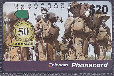 *AUSTRALIA.PHONECARD.MINT.$20.00 FIFTY YEARS WW2.Prefix 806.Collector excess.*