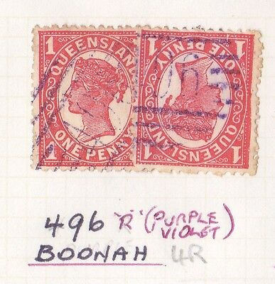 *QUEENSLAND NUMERAL POSTMARKS.No 496.Type 2b.BOONAH in violet 4R++.*