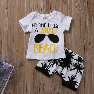 US Stock Toddler Newborn Baby Boys Outfit T-shirt Tops+Pants Shorts Clothes 0-3T