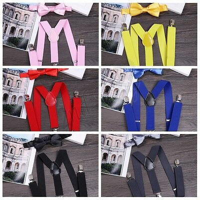 Clip-on Y-Back Elastic Suspender And Bow Tie Baby Toddler Kids Boys Girls Child