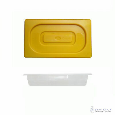 12x Food Pan with Yellow Lid 1/3 GN Size 65mm Deep Polypropylene Gastronorm