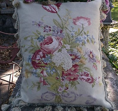 Aubusson Large  Hand Woven Tapestery Textile Pillow Cushion Newly Assembled