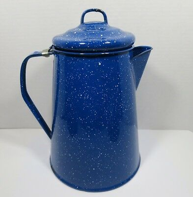Vintage Blue & White Speckled  Enamelware Graniteware Coffee Pot Farmhouse