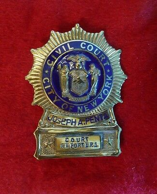 Vintage Obsolete City of New York Civil Court Reporter Collector's Badge