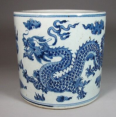 Very Large, Heavy and Fine Chinese Blue/White Dragon Painted Brush Pot-19th C.: