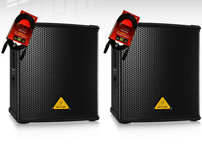 2X Behringer B1200D-PRO Powered Active Subwoofer 500W Amplified + Cables (NEW)