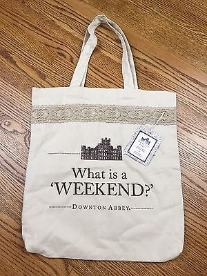 """Downton Abbey New Canvas Tote Bag Lace What Is A Weekend Soft 15"""" x 17"""" 2015"""