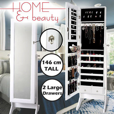 Mirror Jewellery Cabinet Makeup Storage Jewelry Organiser Box Tall White