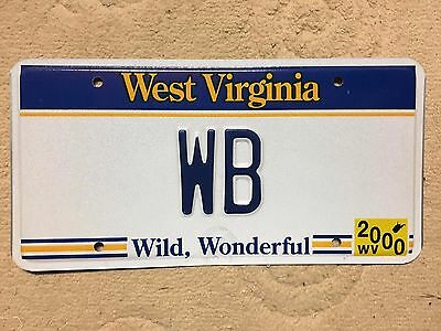 Superb 2000 West Virginia vanity personalized license plate Tag  # WB