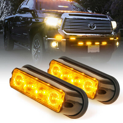 Xprite 4 LED Flash Vehicle Grille Side Marker Strobe warning Lights Amber 2PC