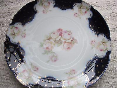 Antique cobalt blue with stars & roses plate. Stunning.