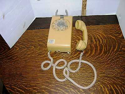 Vintage Beige Rotary Dial Wall Phone With 13' Long Cord