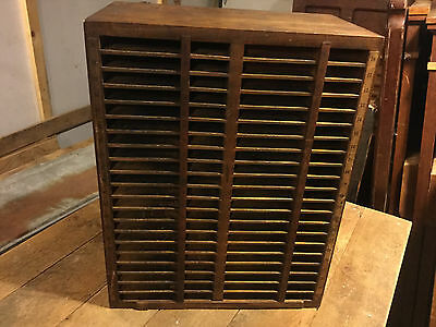 Antique oak Printers Block LetterPress type rule slug Cabinet furniture