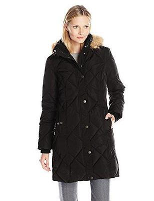 Tommy Hilfiger Women's Quilted Down Coat with Faux Fur Trim Hood Black XS