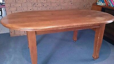 Vintage Oval Oak Timber Dining Table (1940's?)